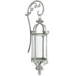 Wall Mounted Candle Lamp/Bracket Antique White Metal/Glass 59cm