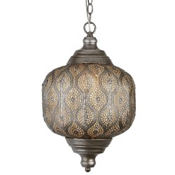Searchlight 1 Light Moroccan Metal Pendant Antique Silver