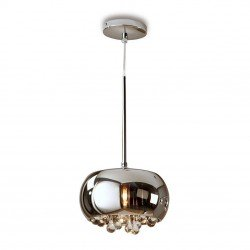 Schuller 509010 Argos Chromed Glass Dome Pendant with Crystal Drops