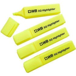 Status SQ Pack of 10 Highlighter Pens - Yellow, 5mm Tip