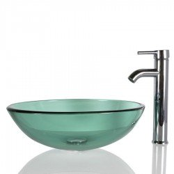 NECHT 43cm Aquamarine Glass Basin Sink Bowl Bathroom Cloakroom Countertop
