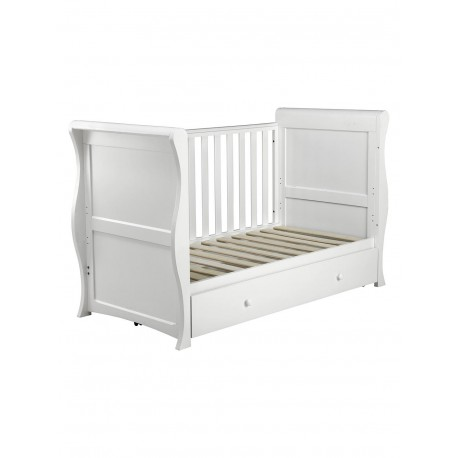 East Coast Alaska Cot Sleigh Bed With Mothercare Mattress 140 x 70 Adjustable Height, 0 - 7 years