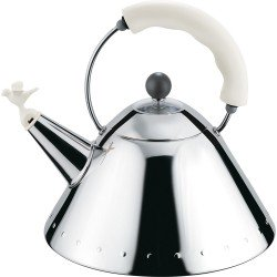 Alessi 9093 Stove Top Whistling Bird Kettle by Michael Graves - White