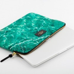 WOOUF MacBook Pro 13in Protective Padded Sleeve Case, Green Marble.