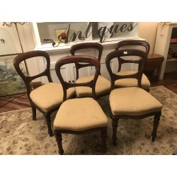 5 Antique Mahogany Balloon Back Chairs For Restoration