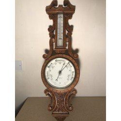 Carved Oak Aneroid Barometer By Benetfink and Co, Cheapside, London