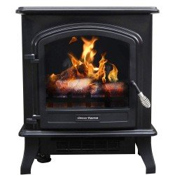"1500W Decor Flame Infrared Stove Heater, QCIH413-GBKP, 17.5""W, Matte black"