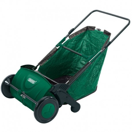 "Draper 21"" Manual Push Rolling Garden Leaf Sweeper Collector Lawn Machine"