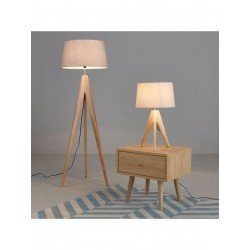 Thea - Wooden Tripod Floor Lamp - Natural