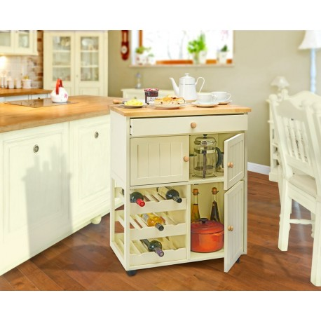 Country Kitchen Wooden Mobile Pantry Cabinet