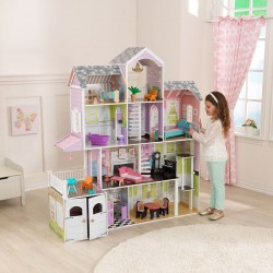 KIDKRAFT GRAND ESTATE WOODEN DOLLS HOUSE + 26pcs FURNITURE