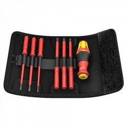 Wera KK VDE 60 i/7 Insulated Interchangeable Blade Pouch Set (slot/ph), 7 Piece