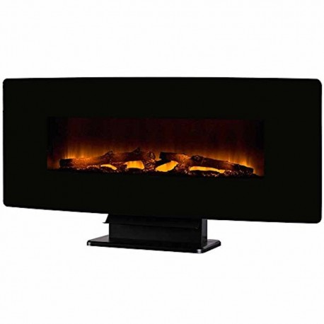 Muskoka Electric Curved Remote Control Fireplace Wall Mount Black Glass 42 Inches