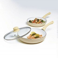 Cermalon 3 Pcs Ceramic Frying Pan Set With Lid, Non Stick Oven Proof - Various Colours