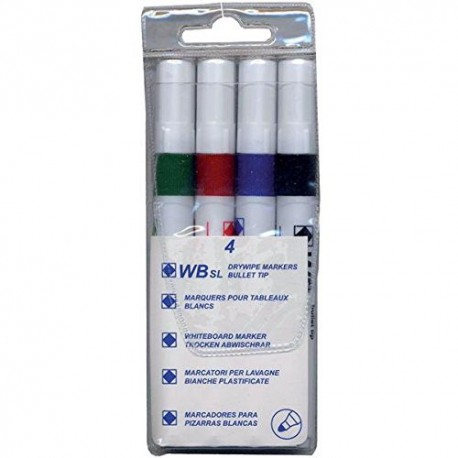 WB SL Drywipe Markers [Pack of 4 - Red, Blue, Green, Black]