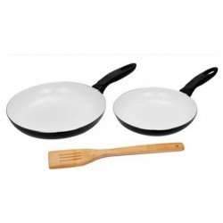 Cermalon Ceramic Frying Pan Set - Black - Non Stick Oven Proof - Use Less Oil