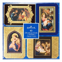 Hallmark 40 Deluxe Embossed Nativity Christmas Cards Matching Self-Seal Envelopes - RRP £29.99