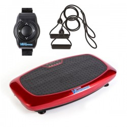 VibraPower Slim 2 Home Fitness Vibration Plate Machine with Remote Watch, Resistance Bands + Free Body Workout