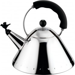Alessi 9093 Stove Top Whistling Bird Kettle by Michael Graves - Black