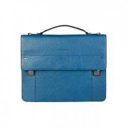 Piquadro - CA3466S78 Leather Laptop Briefcase, 2 Closures, Multi Pocket RRP £486