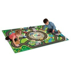 Melissa + Doug. Jumbo Roadway Play Mat, Vehicles, Buildings, Signs, Trees